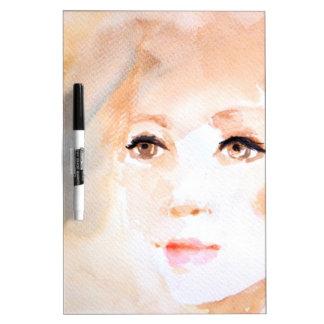 Pintura hermosa de la acuarela de la mirada tableros blancos