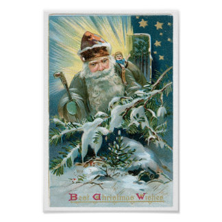 Pintura hermosa de Papá Noel y de las estrellas Impresiones