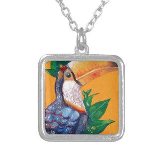 Pintura hermosa del pájaro de Toucan Collar Plateado