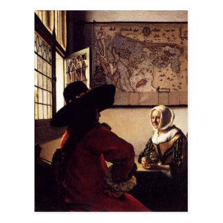 Pintura holandesa de Vermeer del artista Postal