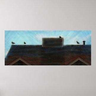 Pintura horizontal del Birds of a Feather en lona Póster