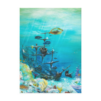 Pintura hundida de la nave encendido lona envuelta para galerias