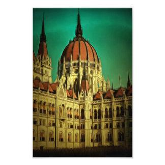 Pintura húngara del edificio del parlamento fotografia