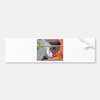 Pintura impresionista de la garza de gran blanco pegatina de parachoque