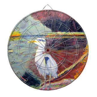 Pintura impresionista de la garza de gran blanco tablero dardos