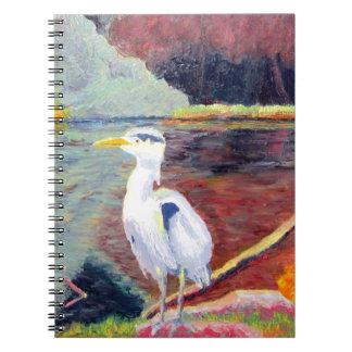 Pintura impresionista de la garza de gran blanco libretas