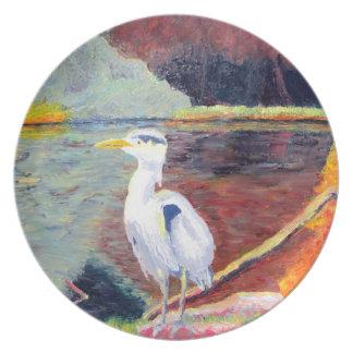 Pintura impresionista de la garza de gran blanco platos