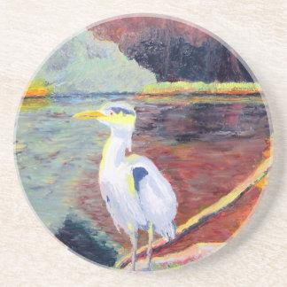Pintura impresionista de la garza de gran blanco posavasos personalizados