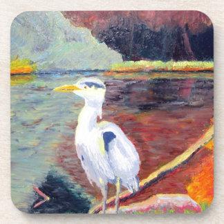Pintura impresionista de la garza de gran blanco posavaso