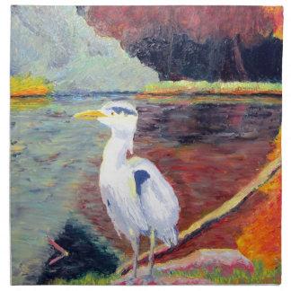 Pintura impresionista de la garza de gran blanco servilleta imprimida