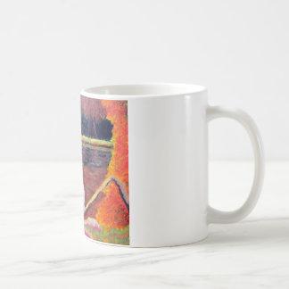 Pintura impresionista de la garza de gran blanco taza de café