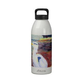 Pintura impresionista de la garza de gran blanco botella de agua reutilizable
