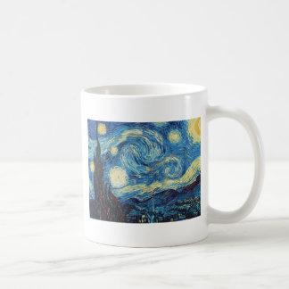 Pintura impresionista de la noche estrellada de taza de café