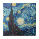 Pintura impresionista de la noche estrellada de Va Teja Ceramica
