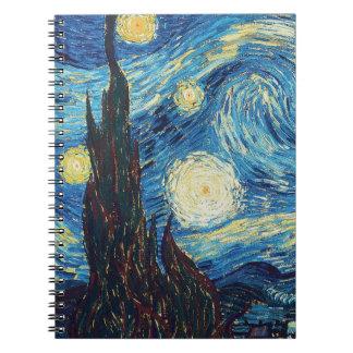 Pintura impresionista de la noche estrellada de Va Libro De Apuntes