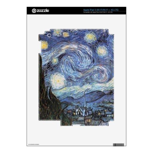 Pintura impresionista de la noche estrellada de Va Pegatina Skin Para iPad 3