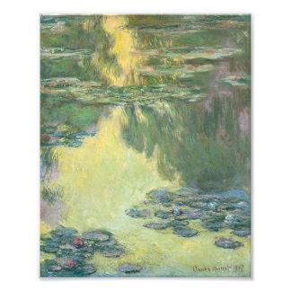 Pintura impresionista de los lirios de agua de cojinete