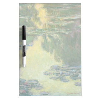 Pintura impresionista de los lirios de agua de pizarras