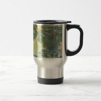 Pintura impresionista de los lirios de agua de taza de viaje