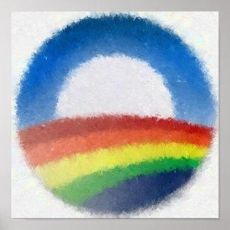 Pintura impresionista del arco iris póster