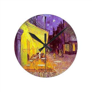 Pintura impresionista del café de Van Gogh Reloj Redondo Mediano