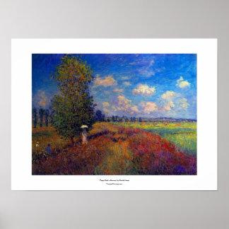 Pintura impresionista del verano del campo de la a impresiones