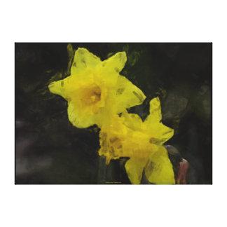 Pintura impresionista floral de los narcisos amari lona envuelta para galerias