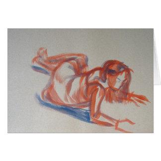 Pintura impresionista gestual de la mujer en tarjeta de felicitación