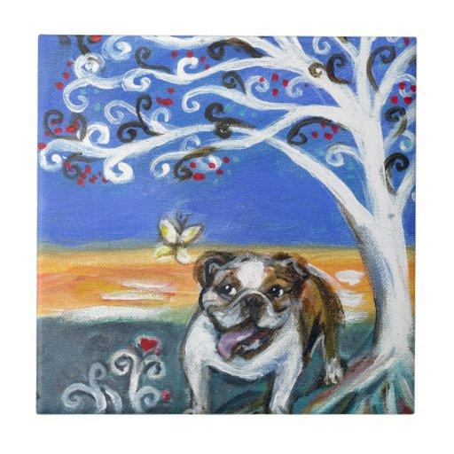 pintura inglesa sonriente del árbol de la mariposa tejas