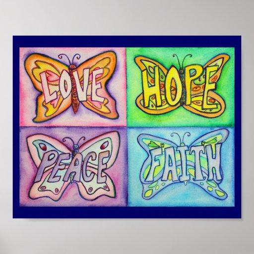 Pintura inspirada del arte de 4 de las palabras al poster