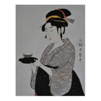 Pintura japonesa antigua circa 1793 postal
