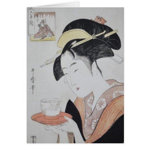Pintura japonesa antigua circa 1796 tarjeta de felicitación