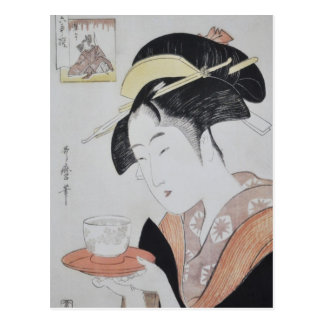 Pintura japonesa antigua circa 1796 postal