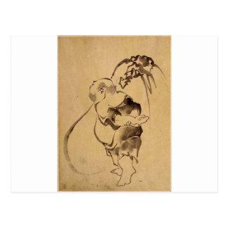 Pintura japonesa antigua, circa 1800's. Japón Tarjeta Postal