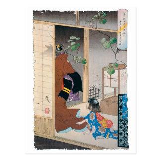 Pintura japonesa antigua del demonio postal