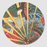 Pintura japonesa antigua del dragón circa 1860's pegatina redonda
