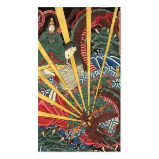 Pintura japonesa antigua del dragón. circa 1860's tarjetas de visita