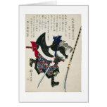 Pintura japonesa antigua del samurai circa 1869 felicitaciones