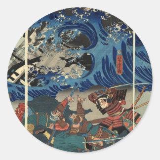 Pintura japonesa antigua del samurai y de Mongols Pegatina Redonda