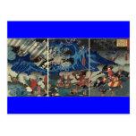 Pintura japonesa antigua del samurai y de Mongols Postales