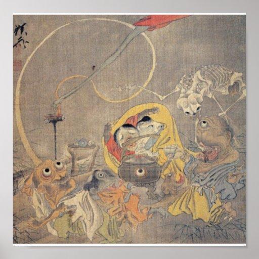 Pintura japonesa antigua extraña de demonios impresiones