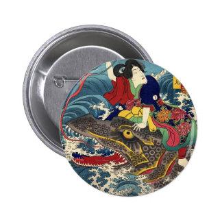 Pintura japonesa antigua, montar a caballo japonés pin redondo 5 cm