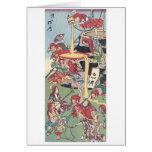Pintura japonesa antigua tarjeta