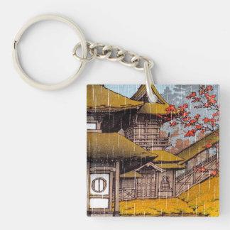Pintura japonesa clásica oriental fresca del templ llavero cuadrado acrílico a doble cara