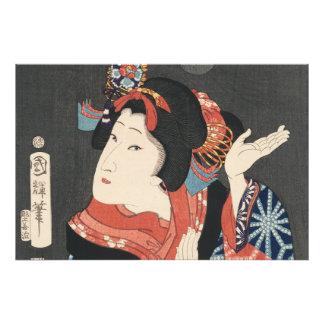 Pintura japonesa colorida del vintage de la mujer cojinete