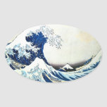 "Pintura japonesa ""de la gran onda"" por Hokusai Pegatina De Oval"