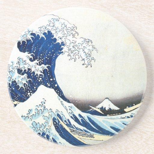 """Pintura japonesa """"de la gran onda"""" por Hokusai Posavasos Manualidades"""