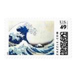 """Pintura japonesa """"de la gran onda"""" por Hokusai Sello"""