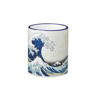 """Pintura japonesa """"de la gran onda"""" por Hokusai Taza A Dos Colores"""