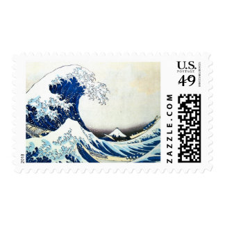 "Pintura japonesa ""de la gran onda"" por Hokusai Timbres Postales"